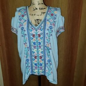 Johnny Was Cold Shoulder Poly/Cotton Top size XL
